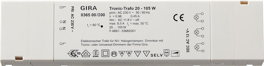 gira 036500 tronic trafo elektr transfo rmator f r. Black Bedroom Furniture Sets. Home Design Ideas