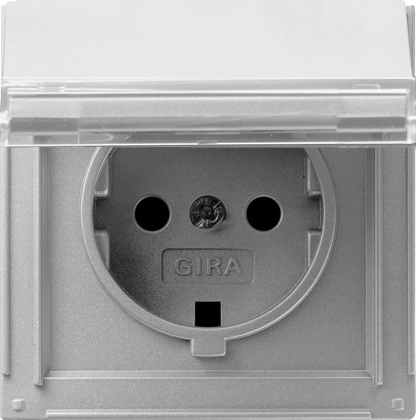 gira 041065 schuko steckdose mit klappdeckel und beschriftungsfeld alu online kaufen im voltus. Black Bedroom Furniture Sets. Home Design Ideas