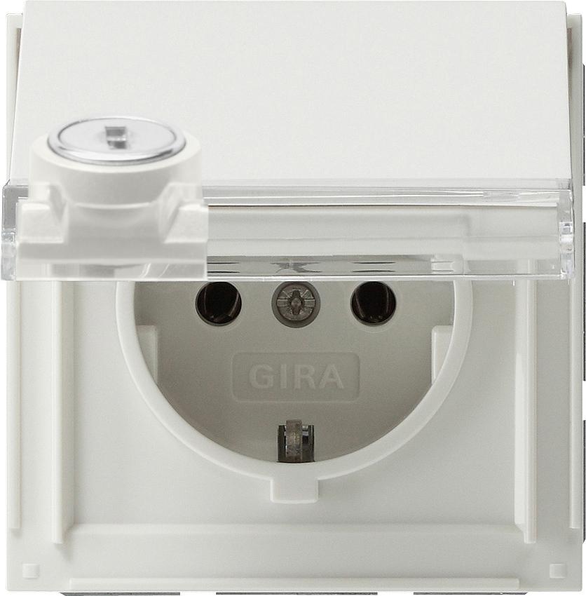 gira 044766 schuko steckdose mit klapp deckel schloss. Black Bedroom Furniture Sets. Home Design Ideas