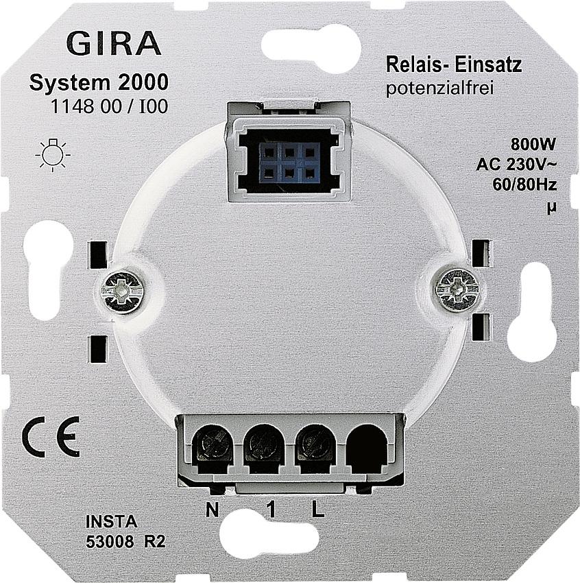 Gira 114800 System 2000 Relais-Einsatz p otenzialfrei, verbrauchern ...