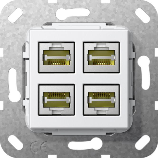 GIRA 569803 Einsatz Modular Jack RJ45 Cat. 6a 10 Gbit Ethernet 4fach Kupplung
