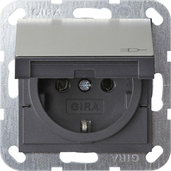 gira 0454600 schuko steckdose mit klappdeckel edelstahl online kaufen im voltus elektro shop. Black Bedroom Furniture Sets. Home Design Ideas