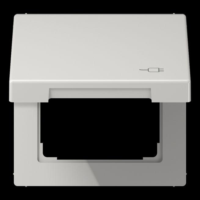 jung ls 990 bfkl soc lg klappdeckel mit r ckstellfeder mit symbol stecker lichtgrau online. Black Bedroom Furniture Sets. Home Design Ideas
