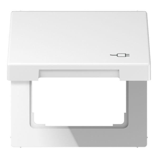 jung ls 990 bfkl soc ww klappdeckel mit r ckstellfeder mit symbol stecker alpinwei online. Black Bedroom Furniture Sets. Home Design Ideas
