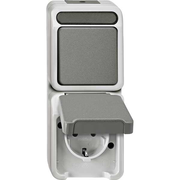 merten meg3495 8029 kombination schuko steckdose wechselschalter online kaufen im voltus elektro. Black Bedroom Furniture Sets. Home Design Ideas