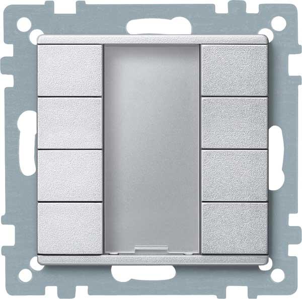 merten 627860 taster 4fach plus aluminium matt online. Black Bedroom Furniture Sets. Home Design Ideas