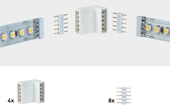 paulmann maxled eckverbinder 4er pack inkl 8 steckverbinder online kaufen im. Black Bedroom Furniture Sets. Home Design Ideas