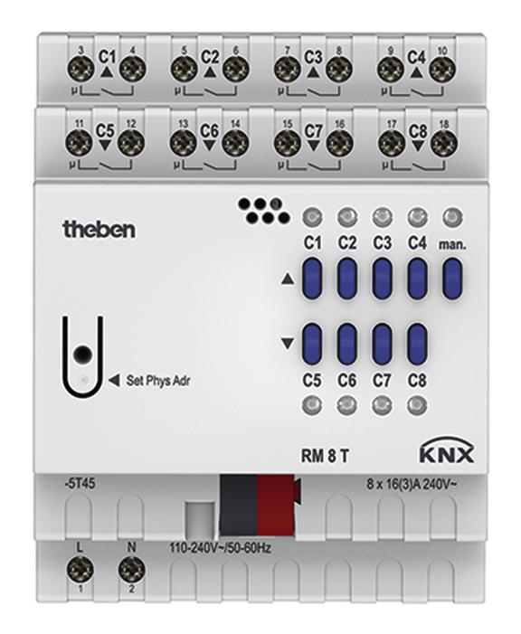Theben 4940200 Rm 8 T Knx Bussystem Schaltaktor 8fach Schalt Oder
