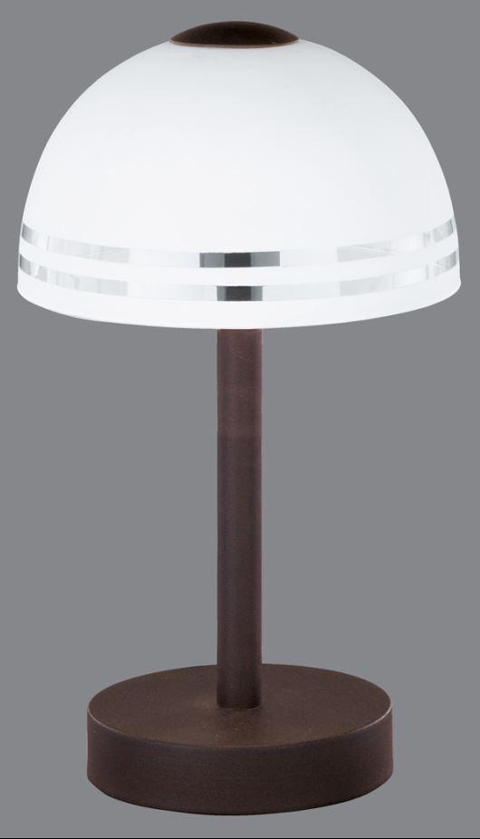 lichtideen l35160 tischleuchte touch me metall rostfarben glas wei touchdimmer online kaufen. Black Bedroom Furniture Sets. Home Design Ideas