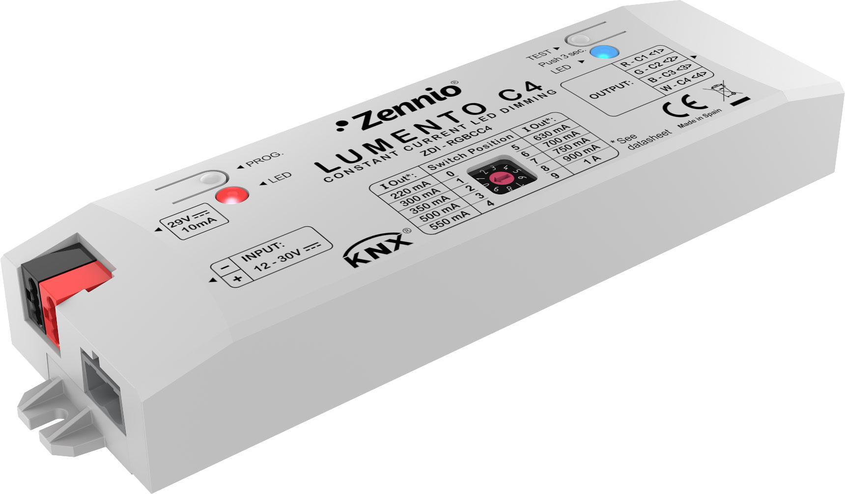 zennio zdi rgbcc4 lumento c4 konstantstrom dimmer 4 kanal online kaufen im voltus elektro shop. Black Bedroom Furniture Sets. Home Design Ideas