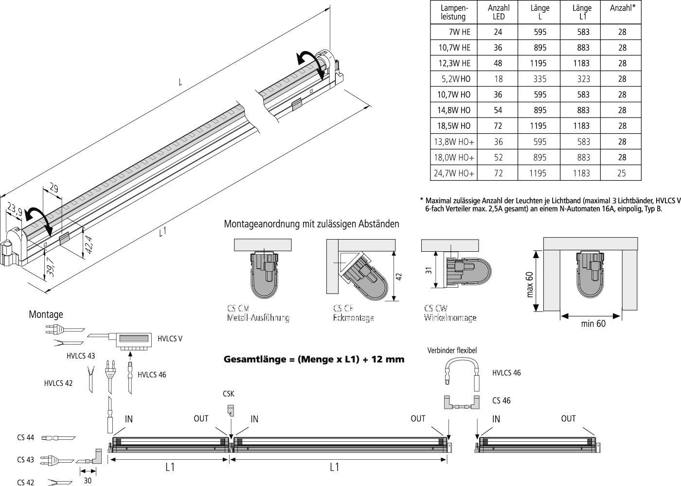 hera 61001293302 slimlitecs led ho dr dimm linienleuchte 1195 mm 24 7 w online kaufen im. Black Bedroom Furniture Sets. Home Design Ideas
