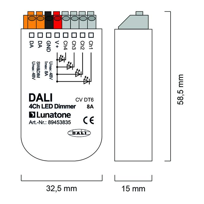 2be71dbe597 LUNATONE 89453835 DALI DT6 4-Kanal LED Dimmer CV 12-48VDC 8 A online ...